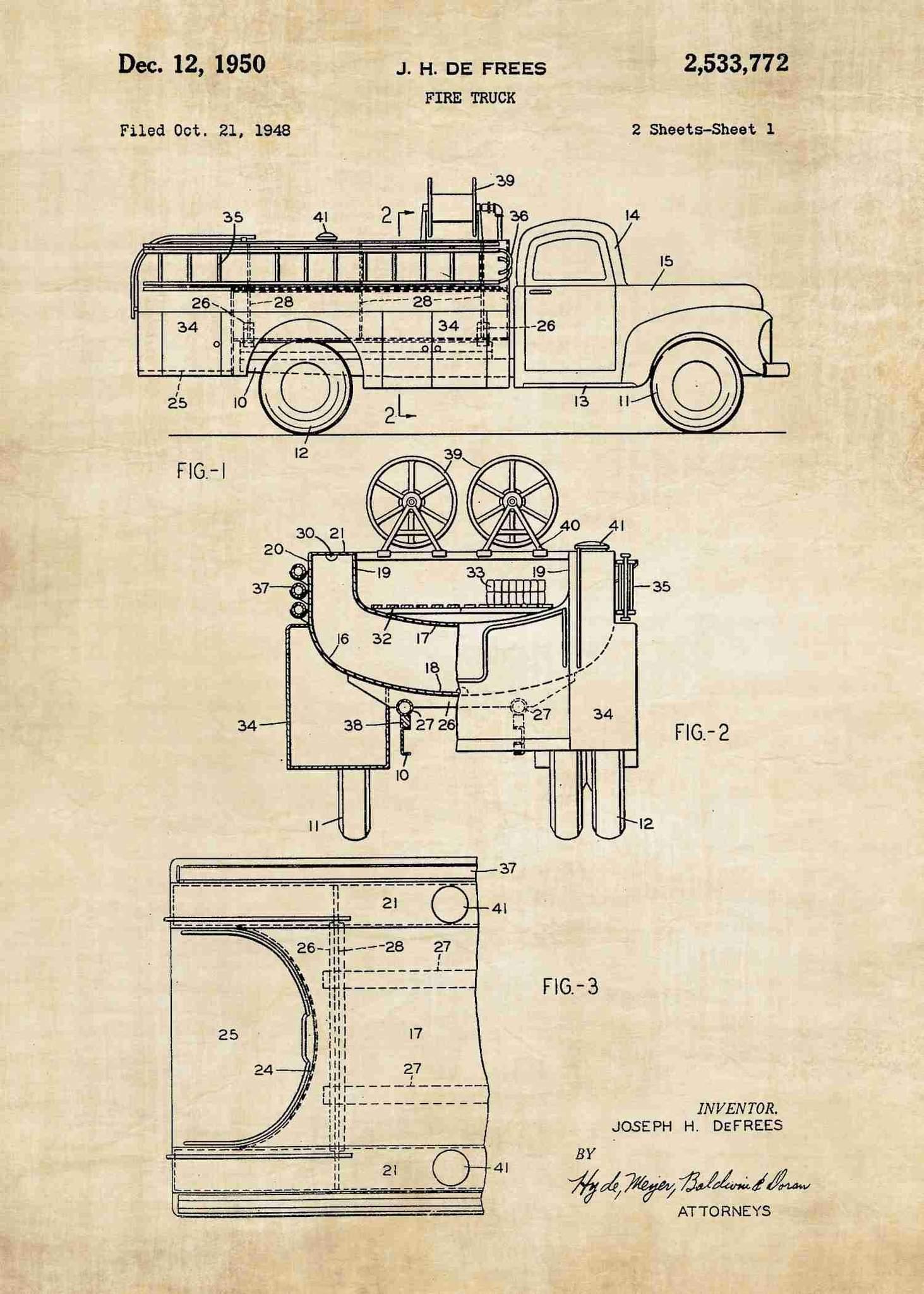 1463x2048 Fire Engine Patent Print