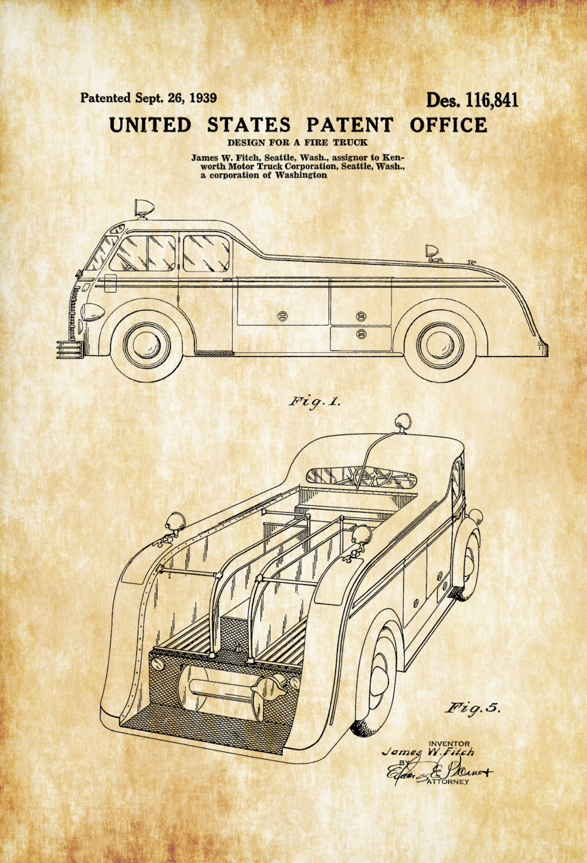 1021x1500 Fire Truck Patent 1939 Patent Prints, Wall Decor, Fireman Gift