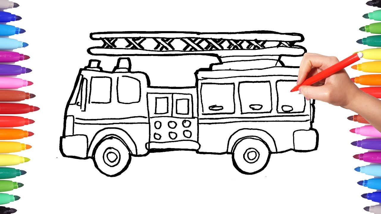 1280x720 How To Draw Firefighter Truck Drawing Coloring Painting Fireman