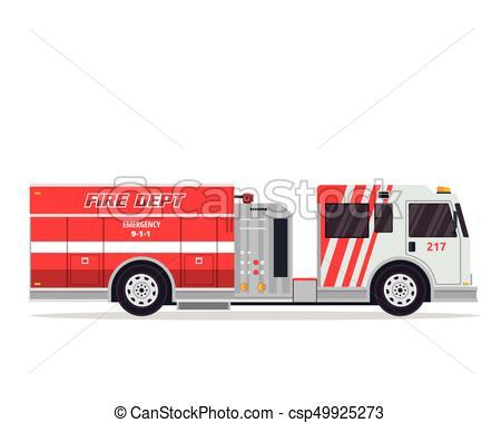450x380 Modern Flat Isolated Firefighter Truck Illustration. Flat