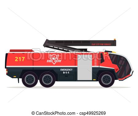 450x380 Modern Flat Isolated Firefighter Truck Illustration. Flat Clip