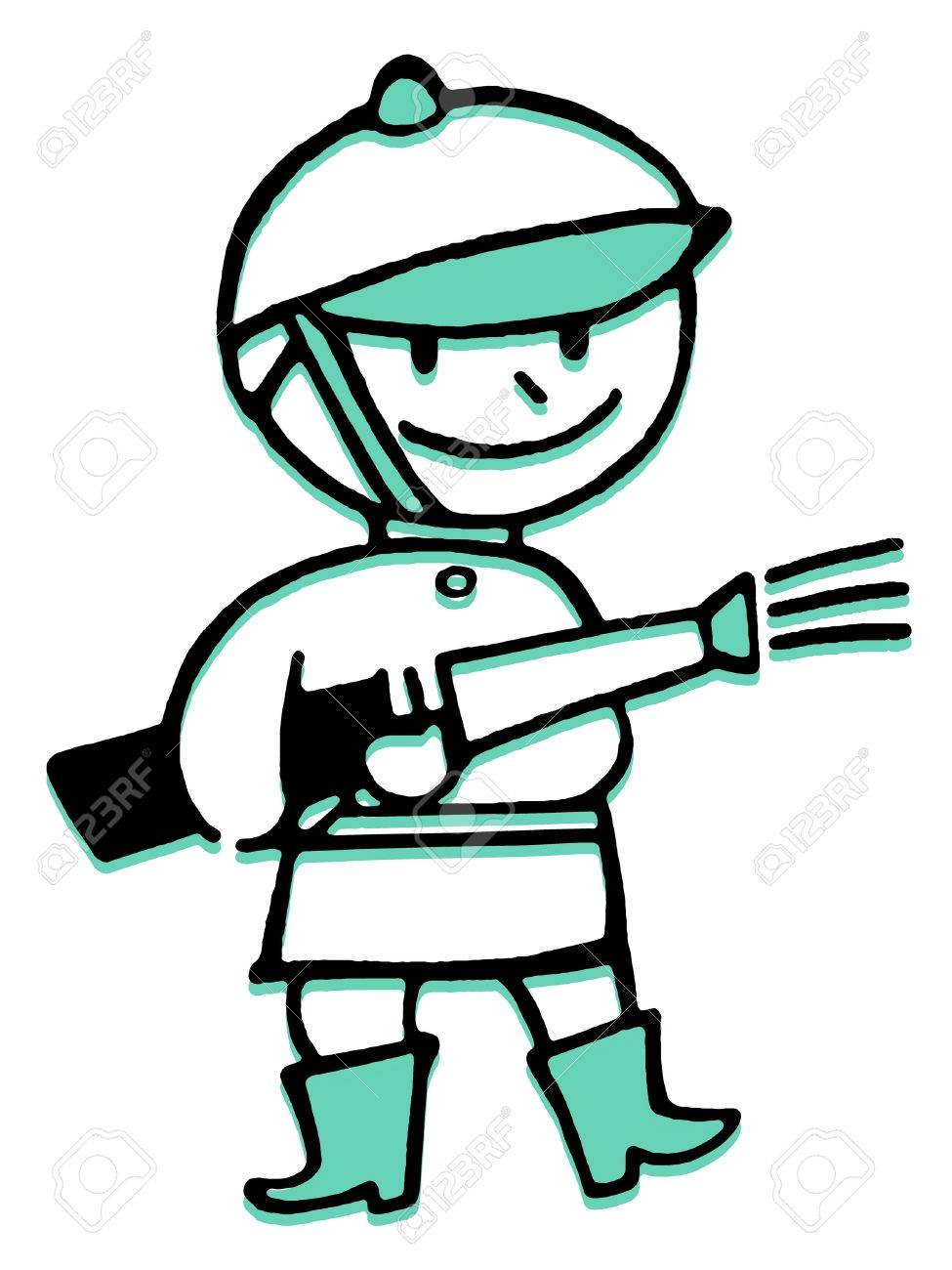 975x1300 A Cartoon Style Drawing Of A Fireman Stock Photo, Picture