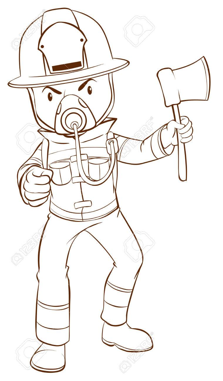 760x1300 A Plain Drawing Of A Fireman On A White Background Royalty Free