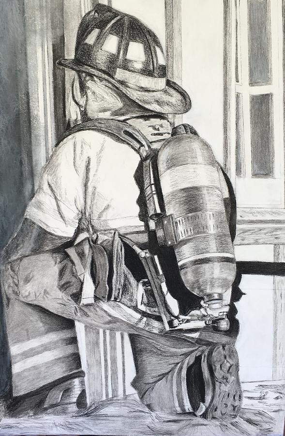 589x900 Firefighter Drawing By Meigan Parrish