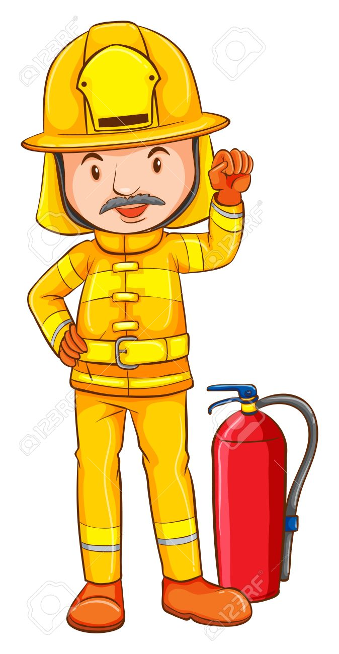 674x1300 Illustration Of A Coloured Drawing Of A Fireman On A White
