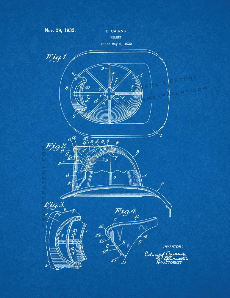 773x1000 Cairns Fireman Helmet Patent Print Poster Item 10198 Frame A Patent