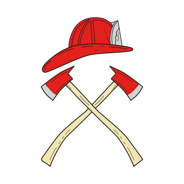 630x630 Fireman Helmet Crossed Fire Axe Drawing