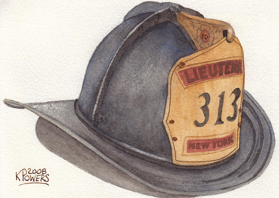 900x640 New York Fire Fighter Helmet Painting By Ken Powers