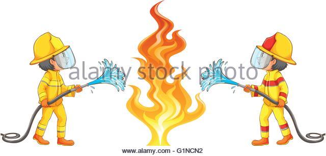 640x306 Fire Burning Firemen Drawing Stock Photos Amp Fire Burning Firemen