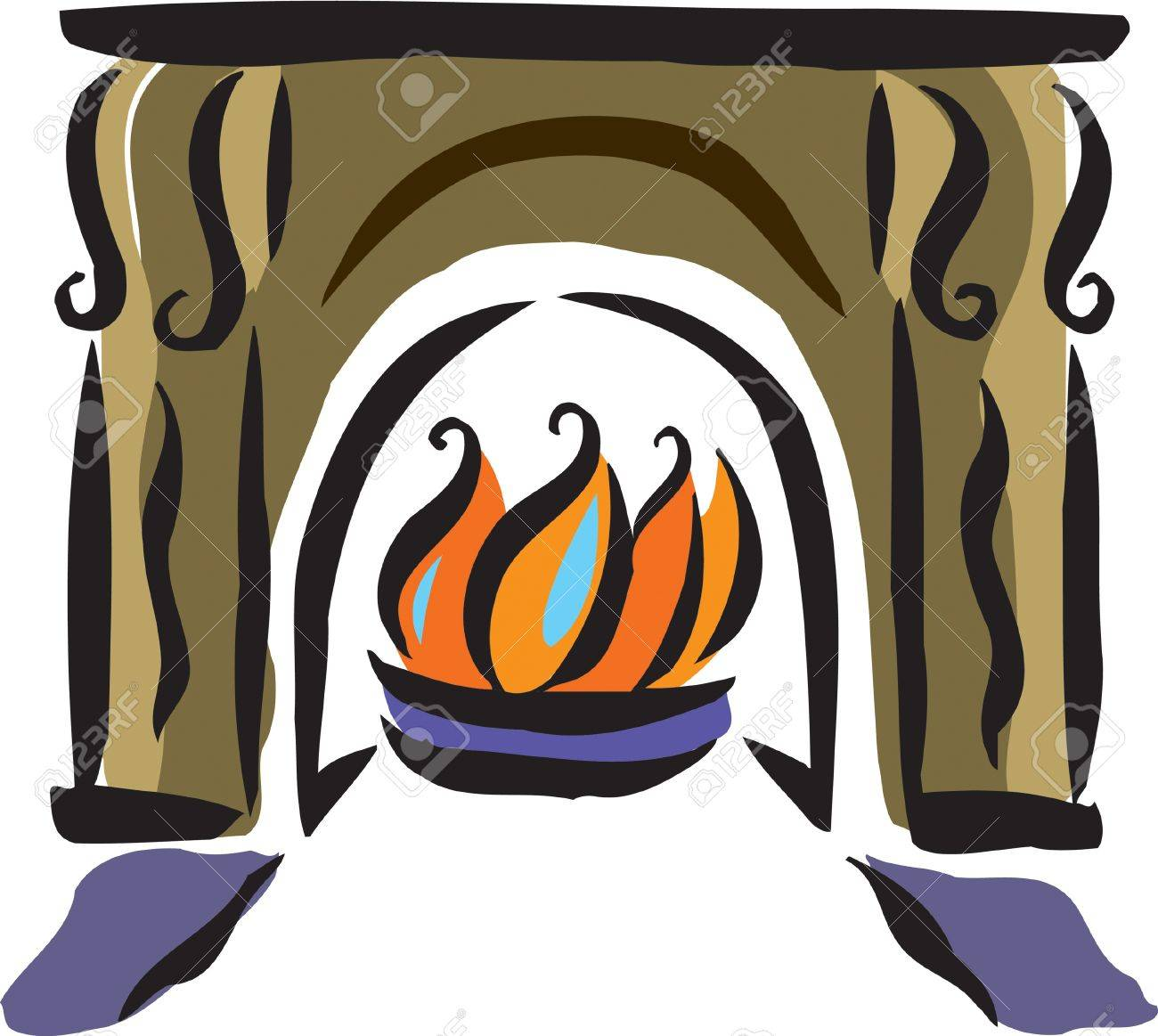 1300x1163 Drawing Of A Fireplace Stock Photo, Picture And Royalty Free Image