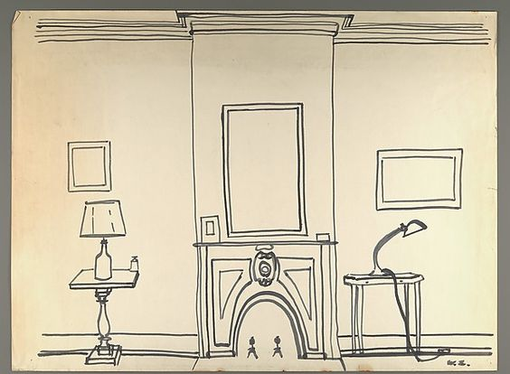 564x414 Line Drawing Of Interior With Fireplace] Drawing