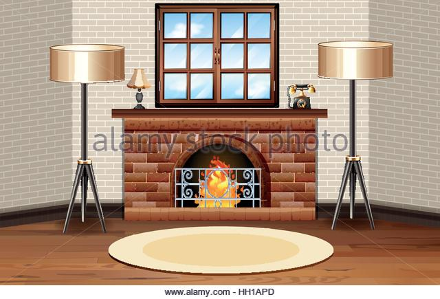 640x435 Scene Drawing Fireplace Interior Stock Photos Amp Scene Drawing