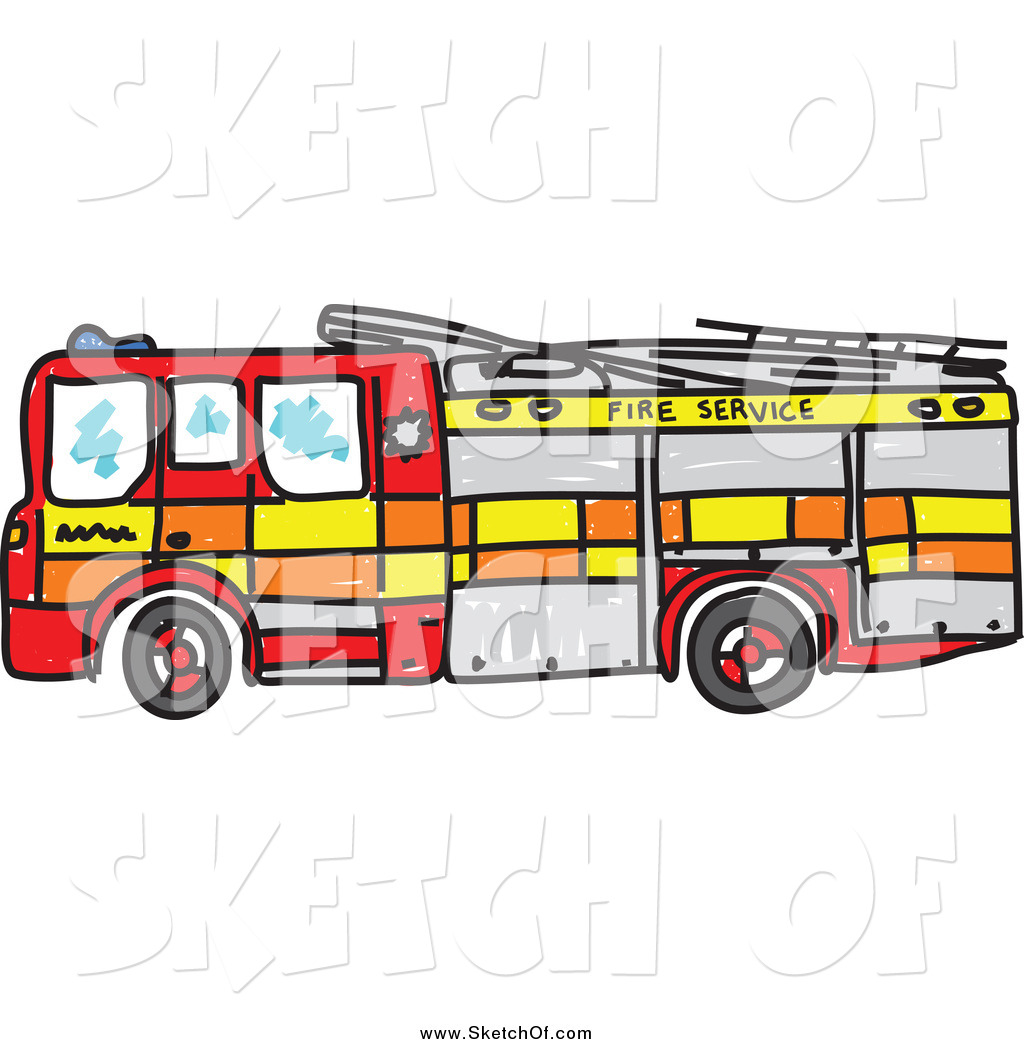 1024x1044 Drawing Of A Sketched Fire Truck By Prawny