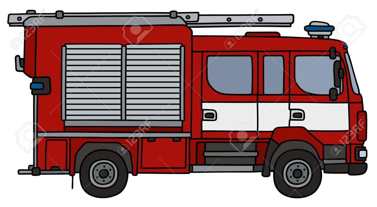1300x715 Hand Drawing Of A Fire Truck