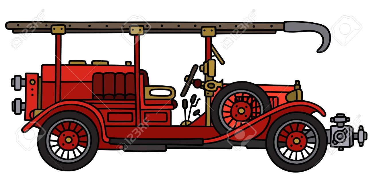 1300x649 Hand Drawing Of A Vintage Fire Truck Royalty Free Cliparts