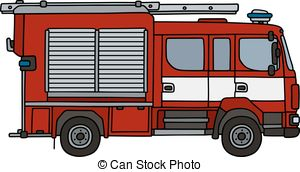 300x172 Red Fire Truck. Hand Drawing Of A Fire Truck