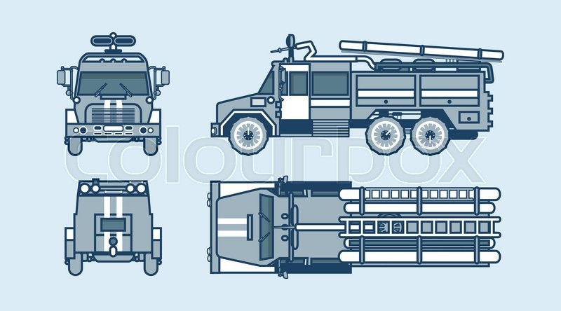 800x444 Set Stock Vector Illustration Isolated Red Fire Engine Top, Front