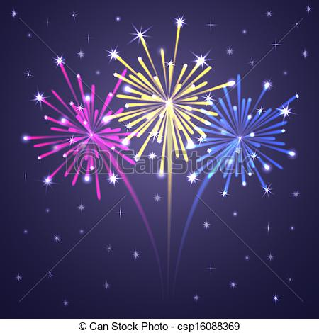 450x470 Colorful Illuminated Fireworks. Vector Illustration. Clip Art