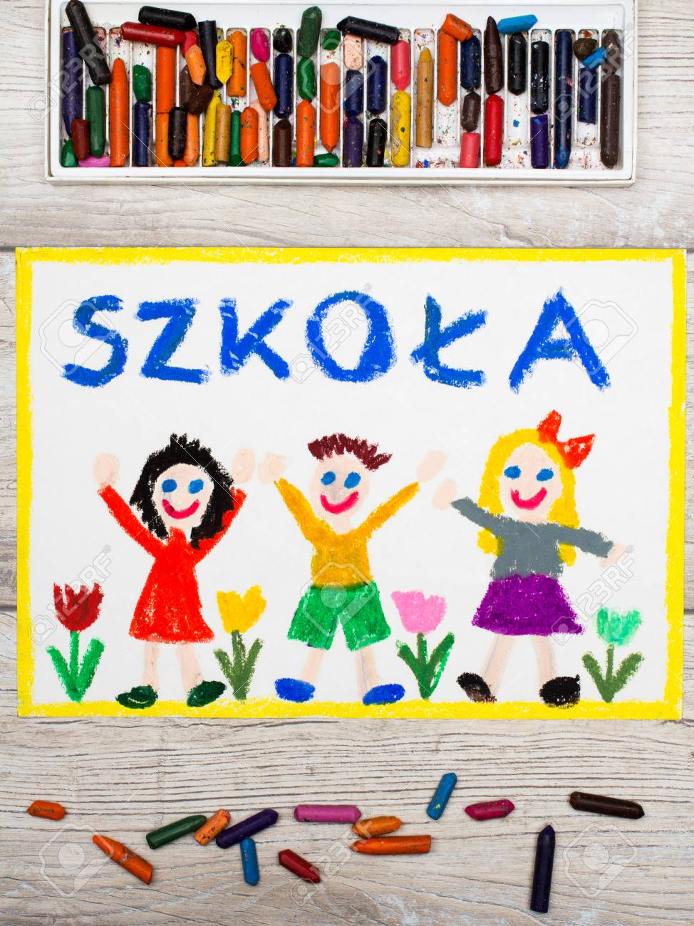 974x1300 Photo Of Colorful Drawing English Word, School Building