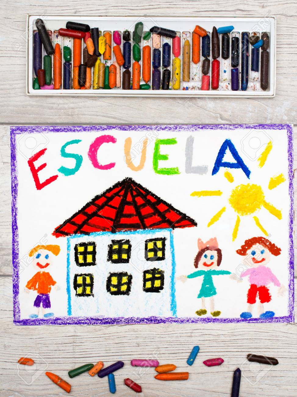 974x1300 Photo Of Colorful Drawing Spanish School, School Building