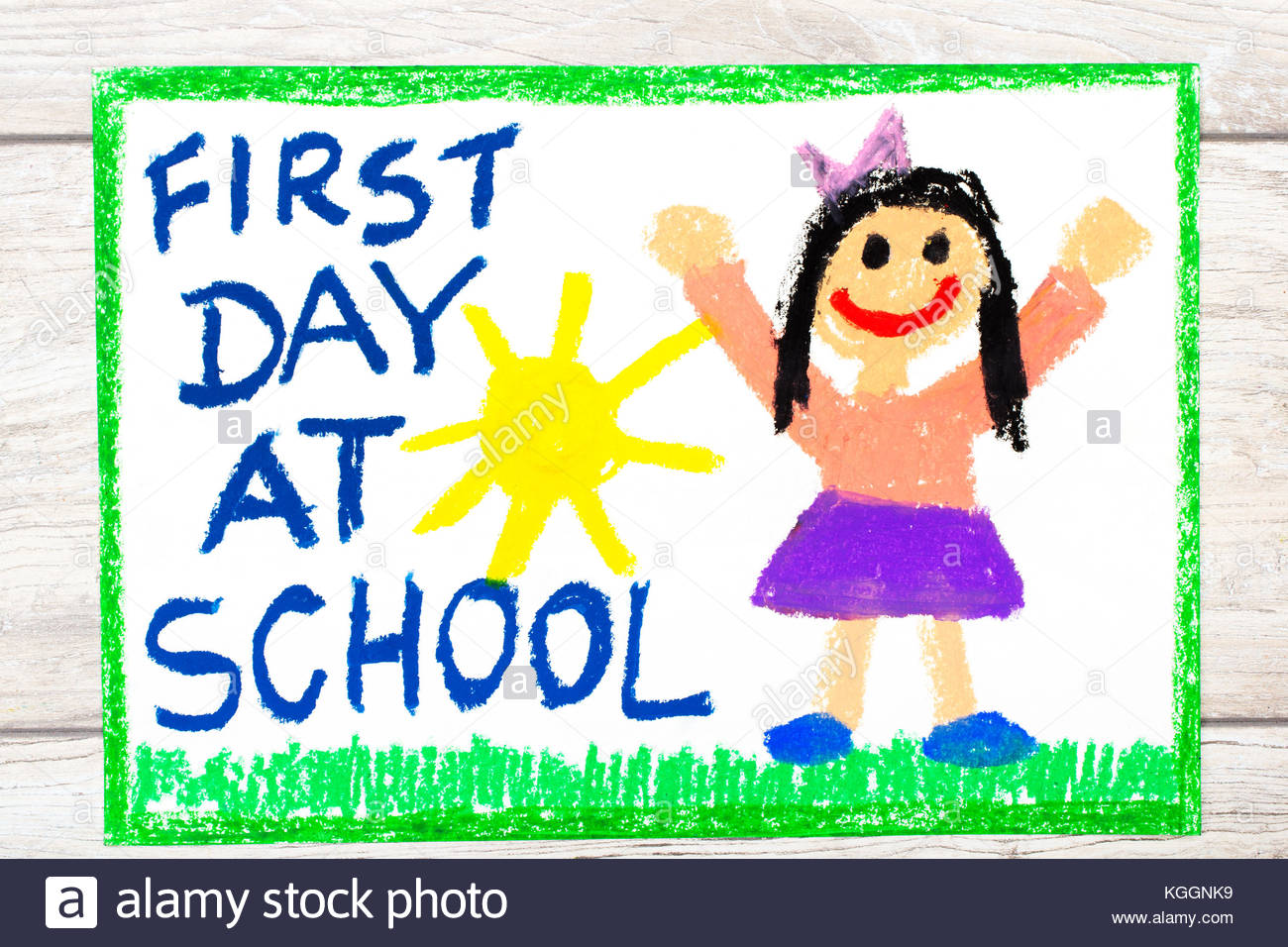 1300x956 Photo Of Colorful Drawing Words First Day At School And Happy