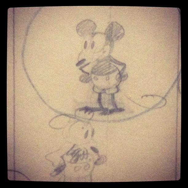 612x612 Walt Disney's First Known Drawing Of Mickey Mouse Via