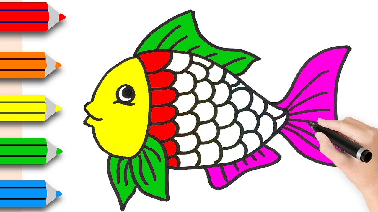 1280x720 How To Drawing Fish Amp Coloring Pages For Kids Learning Videos