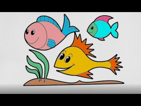 480x360 how to drawing fish coloring fish with marker coloring for kids