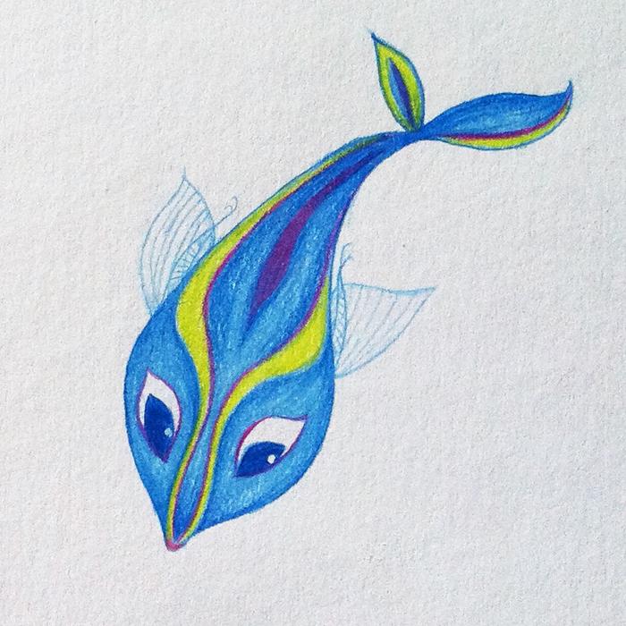 700x700 My Grinning Mind Beautiful Blue Fish Pencil Drawing