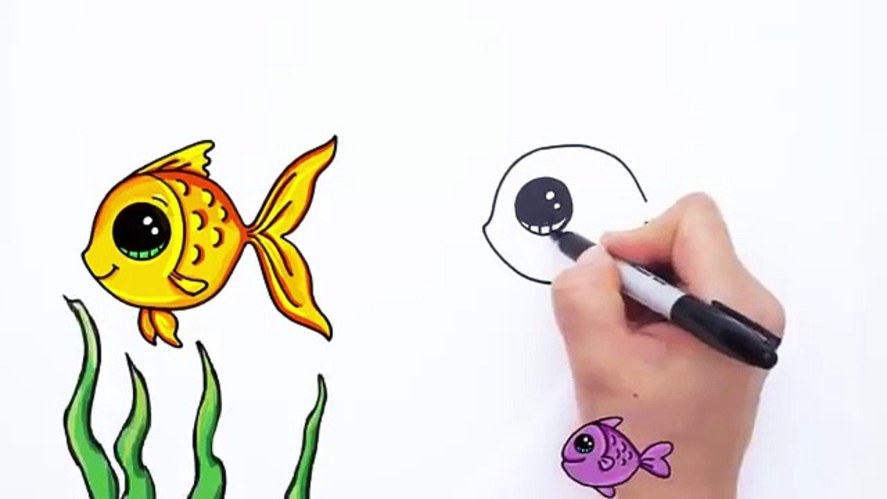 1280x720 Cartoon Fish Drawings Simple Fish Drawing For Kids Free Download