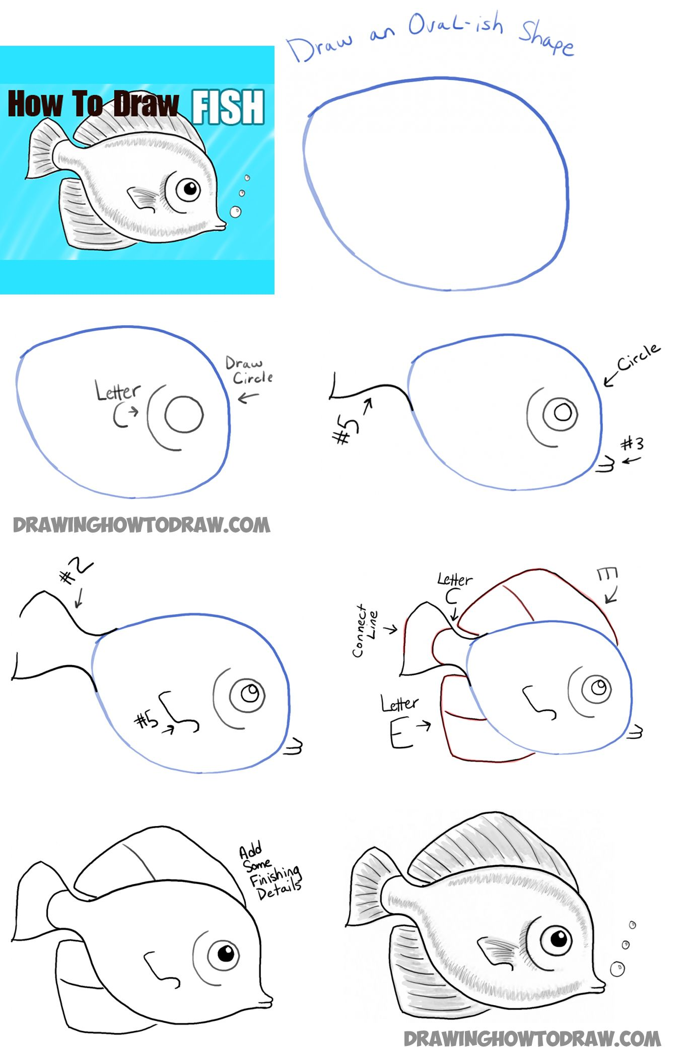 1368x2084 How To Draw Fish Step By Step How To Draw