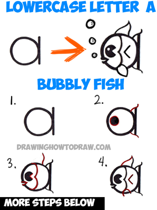 500x669 How To Draw A Cute Cartoon Fish From A Lowercase Letter A Shape