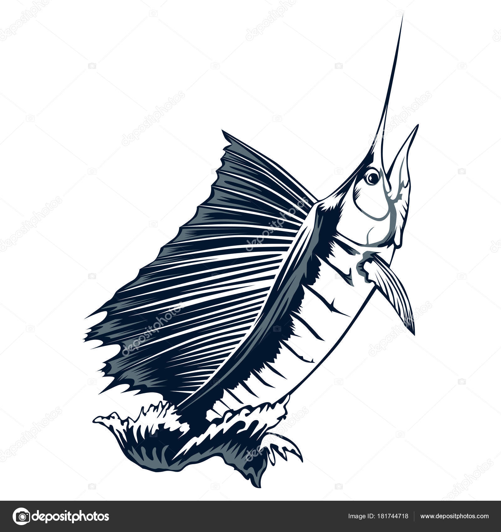 1600x1700 Marlin Jumping Out Of Water Stock Vector Lioriki