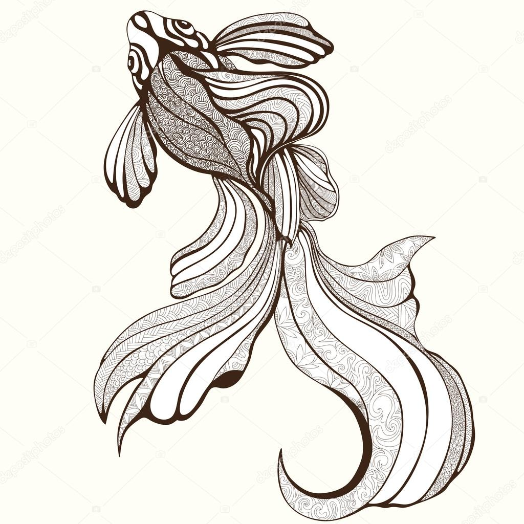 1024x1024 Abstract Fish, Coloring, Sketch, Hand Drawing, Graphic. Elegant