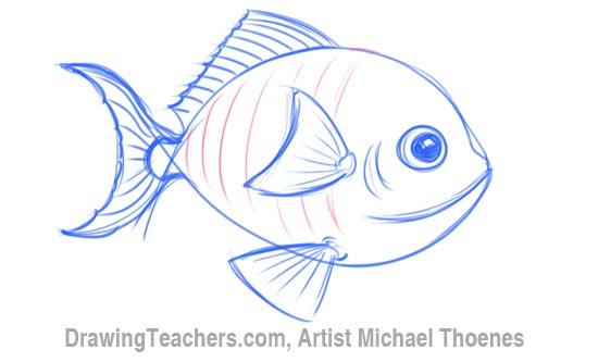 550x333 How To Draw A Cartoon Fish
