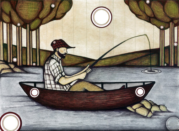 570x418 Fisherman Drawing, Illustration Of Fisherman In A Canoe, Outdoorsy