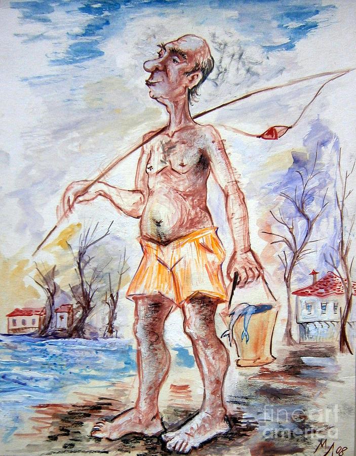 703x900 Fisherman Drawing By Milen Litchkov