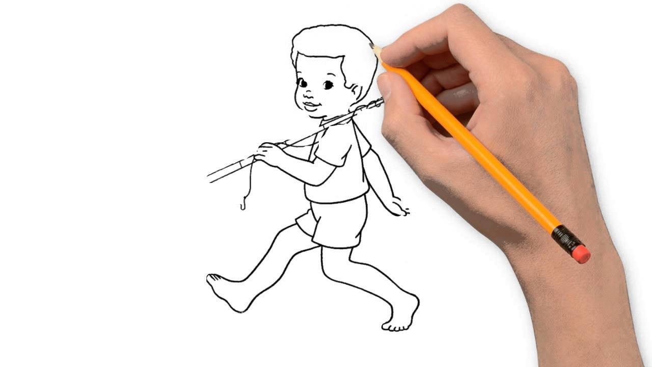 1280x720 Fisherman Pencil Things To Draw Step By Step