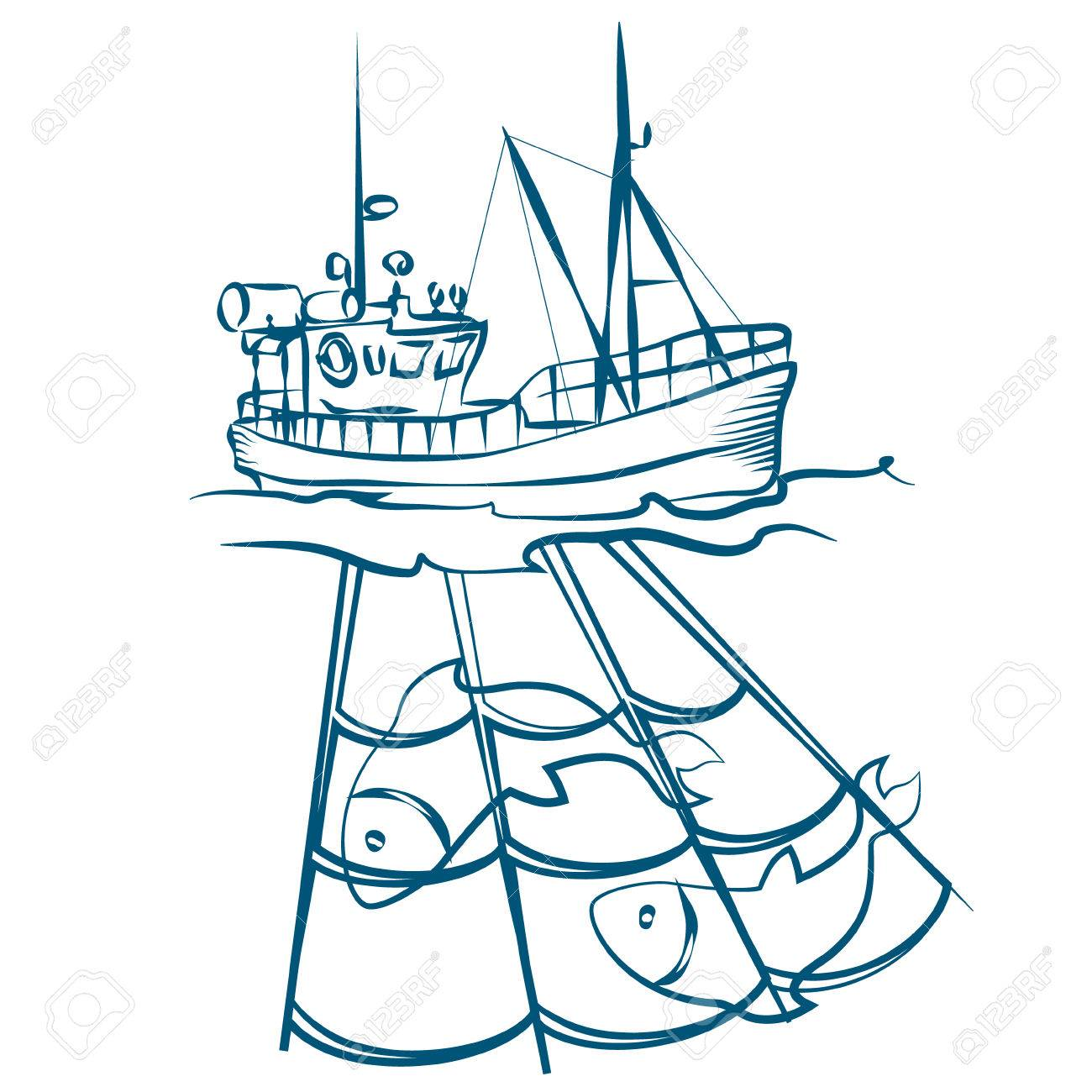 Fishing boat drawing at free for for How to draw a fishing boat