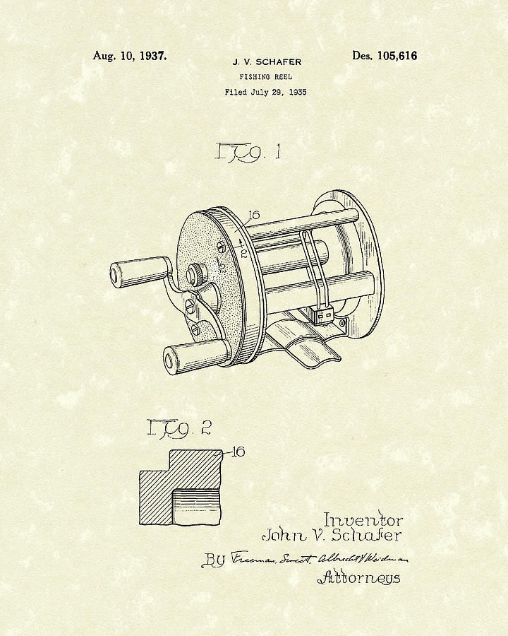 720x900 Fishing Reel 1937 Patent Art Drawing By Prior Art Design