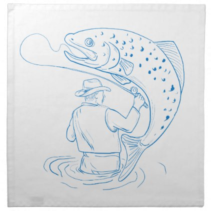 422x422 Fly Fisherman Trout Fishing Drawing Cloth Napkin Cloth Napkins