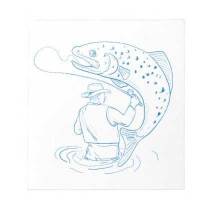 422x422 Fly Fisherman Trout Fishing Drawing Notepad Trout, Fish