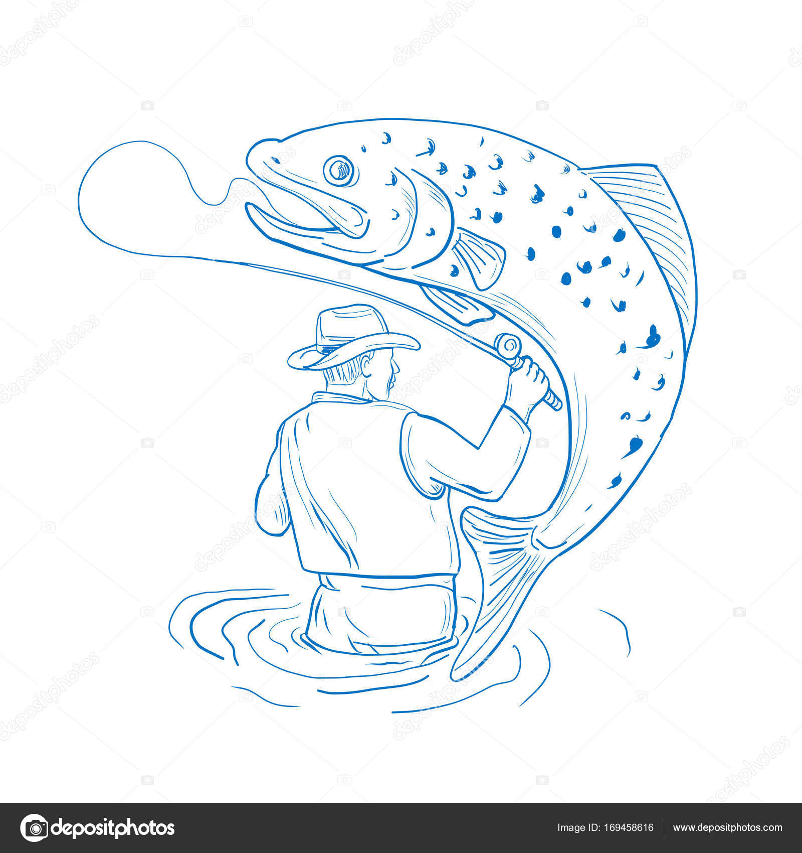 1600x1700 Fly Fisherman Trout Fishing Drawing Stock Vector Patrimonio