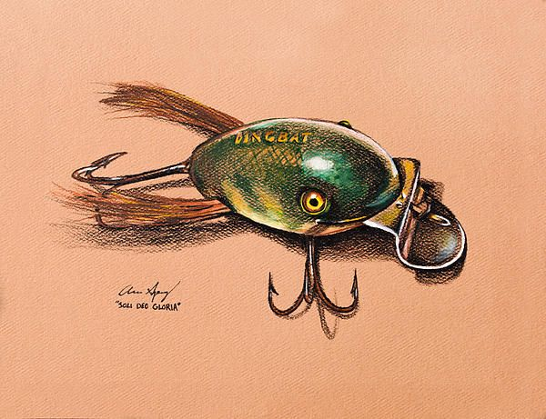600x461 Dingbat Colored Pencil Drawing Of An Old Fishing Lure