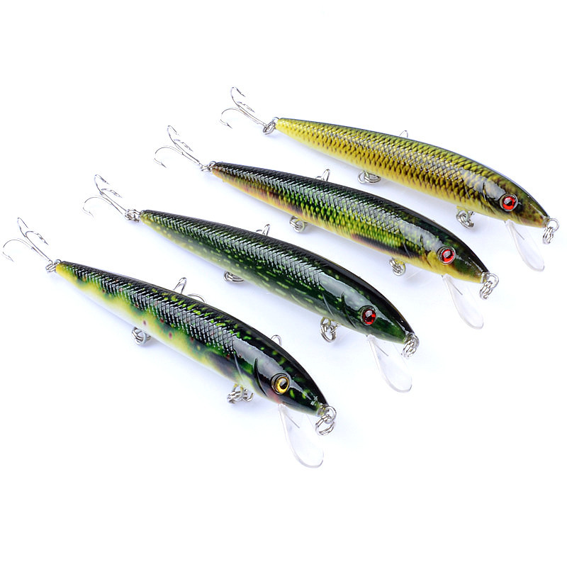 800x800 1pcs Lure Colored Drawing Pattern Minnow Bait 13.7g 12cm Plastic