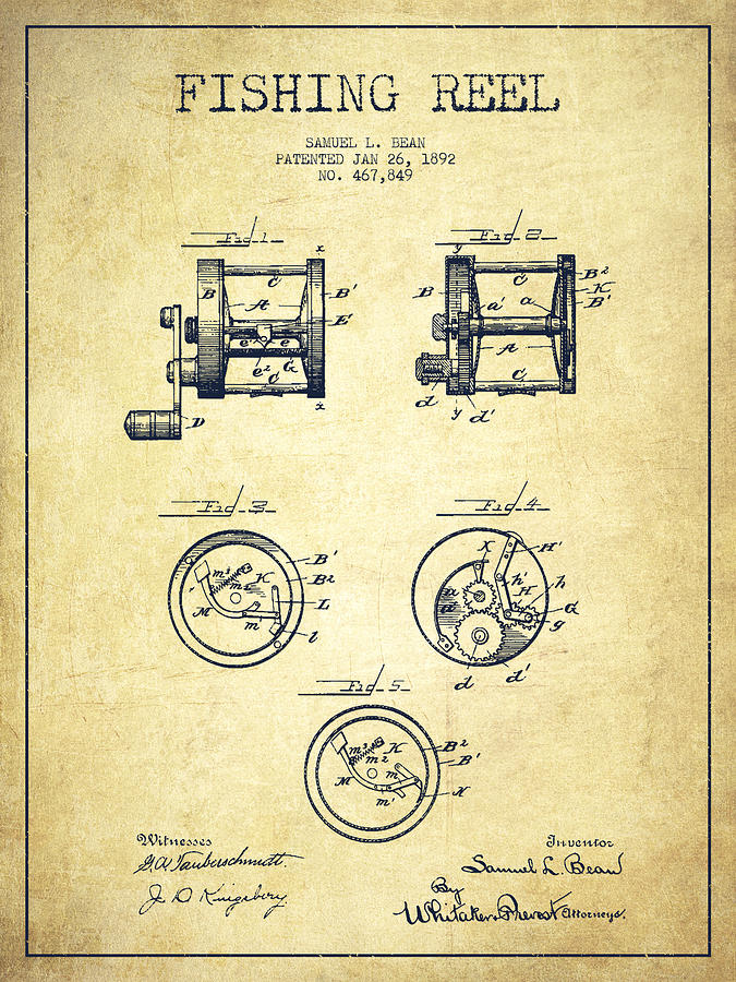 675x900 Fishing Reel Patent From 1892 Drawing By Aged Pixel