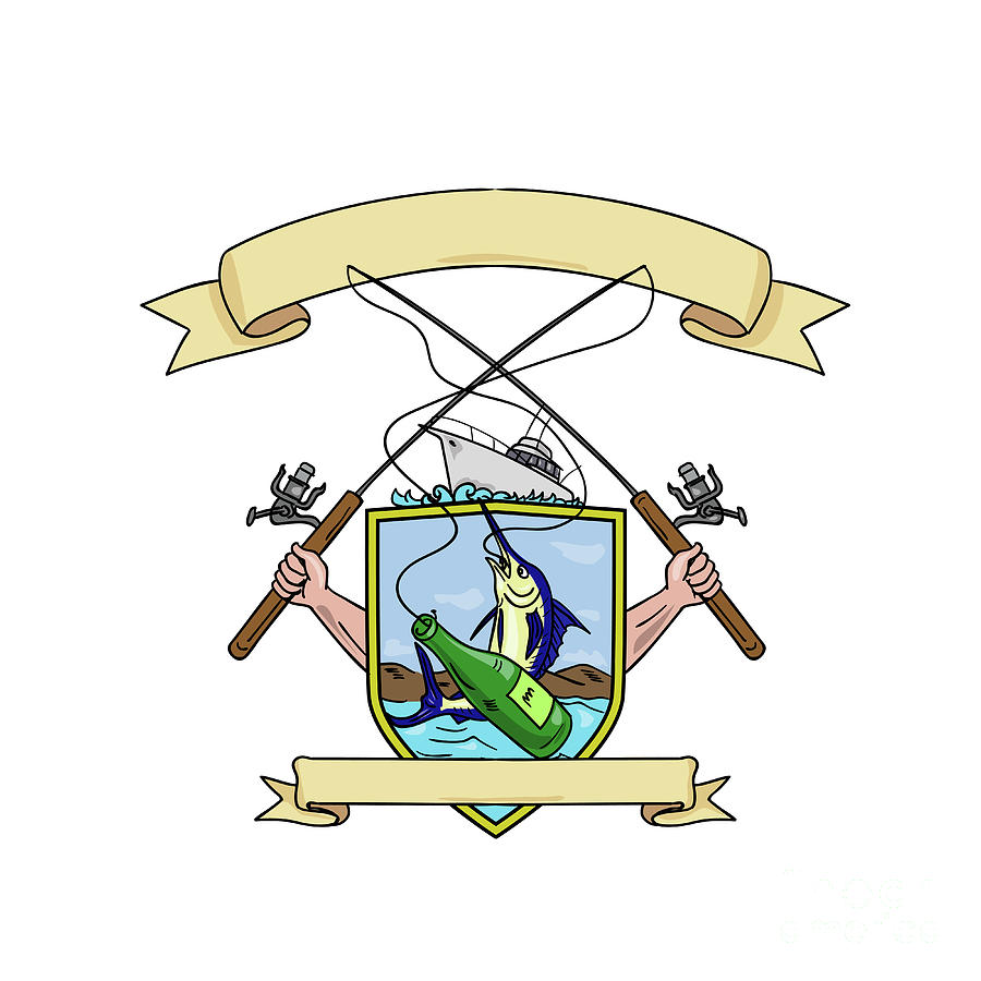 900x900 Fishing Rod Reel Blue Marlin Fish Beer Bottle Coat Of Arms Drawing