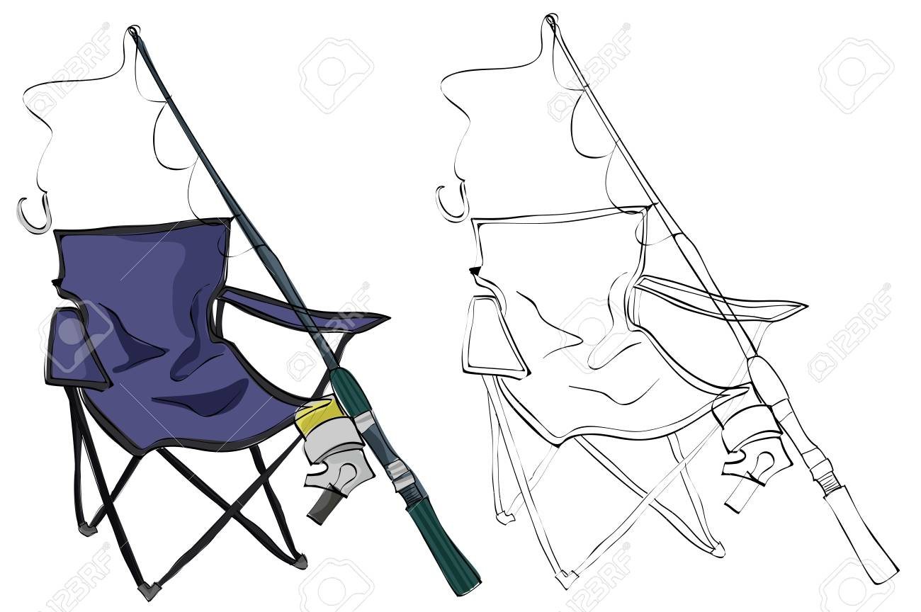1300x864 Vintage Style Hand Drawn Fishing Chair And Fishing Rod Royalty