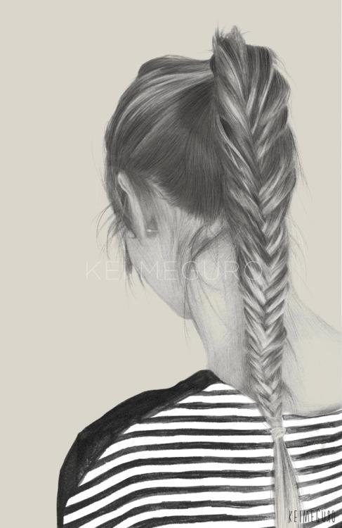 487x750 Drawing Illustration Art Hair Braid Stripes Fish Tail Braid Kei