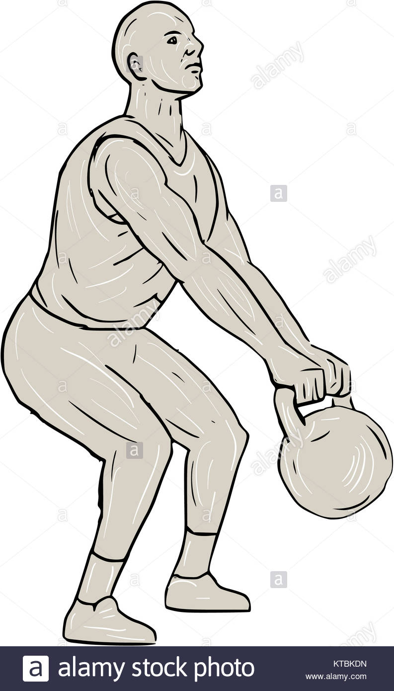 793x1390 Athlete Fitness Squatting Kettlebell Drawing Stock Photo